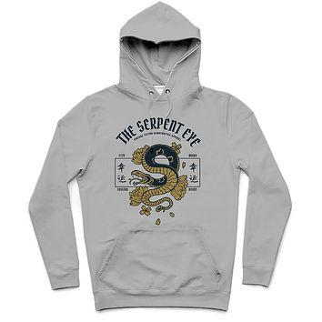 The Serpent Eye Trendy All-Over Print Solid Silver Hoodie