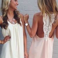 Billowy Dress with Open Back - Lotus Boutique