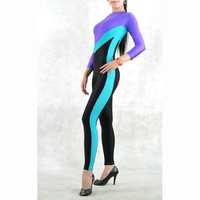 Purple Blue and Black Mixed Color Lycra Spandex Zentai Catsuit Costume - $34.99