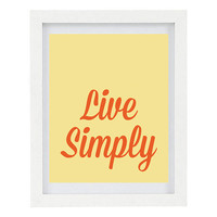 Live Simply, Inspirational Print, Happiness Quote, Positive Print, Minimalist, Word Art, Customise Your Colours, 8 x 10 Typography Print