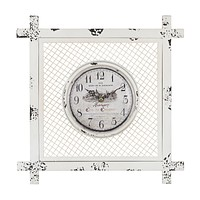 Vintage Style Clock in Square Mesh Frame