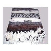 """Burgandy Red White Large Authentic Mexican Falsa Blanket Rugs, Throws, Yoga Mats Sz 77""""/56"""""""