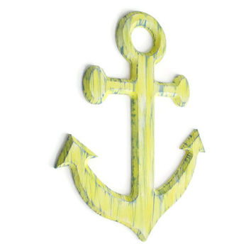 Anchor Wall Art distressed rustic nautical decor hand painted wall sign in pale yellow and blue-grey, shabby wooden anchor beach decor