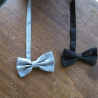 Vintage Bow Ties: Choose 'After 6' Black Silk Bow Tie &/or Solid, Textured Grey Formal/Business/Event Bow Tie