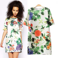 Floral Short Sleeve Mini Shift Dress