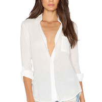 Bobi Gauze Button Up Top in Light