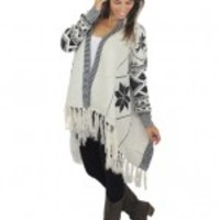 Ivory And Black Knitted Cardigan With Fringe