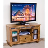 Sunny Designs Sedona TV Console with Game Drawer In Rustic Oak