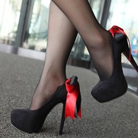 Sweet Style Back Bow Design High Heel Shoes