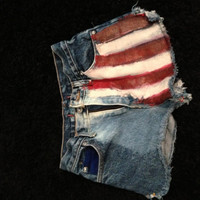 Size 00 American Flag high wasted shorts