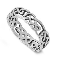 925 Sterling Silver Wicca Celtic Pagan Eternity Ring