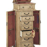Jewelry Armoire In Light Green Tint Finish