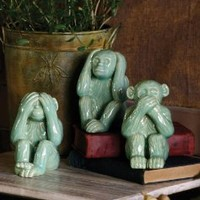 "Hear, See, Speak No Evil - The Three Wise Monkeys, each is 5"" x 4"" x 6"" tall"