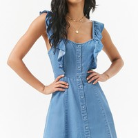 Chambray Button-Front Ruffle-Trim Mini Dress