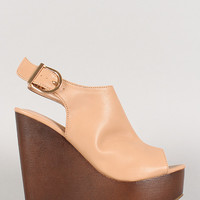 Peep Toe Faux Wood Sling Back Mule Wedge