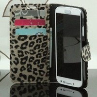 Leopard Skin Protective Flip-open PU Leather Wallet Cover Case with Card Slot for Samsung Galaxy S4 i9500