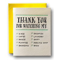 Thank You For Watching My...  Card