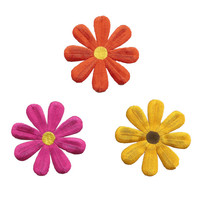 Daisy Flower Iron On Patch Embroidery Applique Set of 3