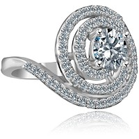 1/2 CT. Intensely Radiant Round Diamond Veneer Cubic Zirconia with Halo Stylish Swirl Floating Sterling Silver Ring. 635R3237