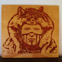 Brave Warrior - Native American Indian Portrait Handmade Wood Carving Wall Art
