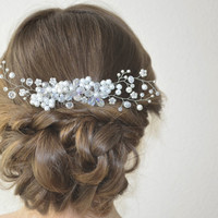 Bridal Hair Comb, Wedding Hair Piece, Bridal Crystal Hair Comb, Wedding Pearl Headpiece, Floral Wedding Hairpiece, Bridal Hair Accessory