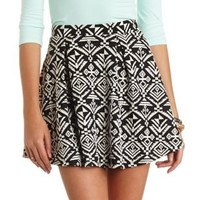 Tribal Print Pleated Skater Skirt by Charlotte Russe - Black/White