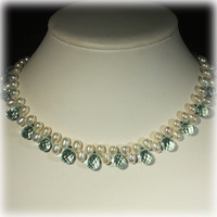 Cultured Pearl Necklace,  Pear Pearl Choker, Pearl Crystal Necklace, Blue, White, Teardrop Beads