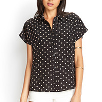 FOREVER 21 Polka Dot Collared Shirt Black/Taupe Small