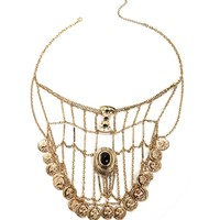 Sale-gold Coin Web Statement Necklace