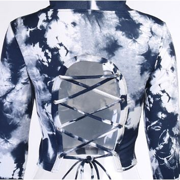 Explosive style hot sale fashion tie-dye back lace-up sweater