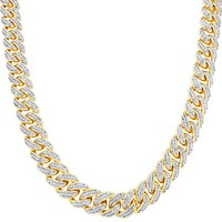 "Men's Iced Out 14k Gold Finish 30"" Miami Cuban Link Necklace"