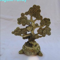 Wedding Decorations/Art Collection Chinese Brass Carved Coin tree Statue /Home Decoration Feng Shui Money Tree Sculpture