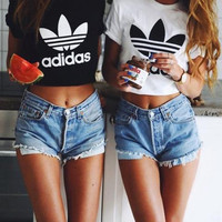 """Adidas"" Women Fashion Letter Print Letter Short T-Shirt Crop Tops"