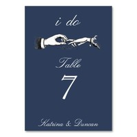 I Do Vintage Wedding Ring Navy Blue Table Card