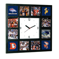 Denver Broncos Great players and logo history Clock with 12 pictures