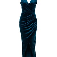 Navy Wrap V-neck Open Back Ruched Detail Split Velvet Dress