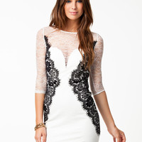 White Floral Lace Side Patch Bodycon Dress