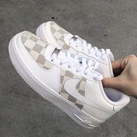 Nike WMNS Air Force 1 x Louis Vuitton LV hot sale men's and women's plaid print low-top casual sneakers
