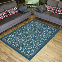 """Conur Collection Floral Scroll Area Rug Rugs Modern Contemporary Traditional Area Rug Rugs Veronica 3 Color Options (Petrol Blue, 4'11"""" x 6'11"""")"""