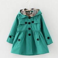 2016 Girls Trench Coat Cardigan Jackets For Girls Spring And Autumn Cotton England Style Princess Girls jackets Hot Sale