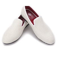 new arrival Handmade men white velvet shoes with small Rhinestones Party and wedding men loafers  flats