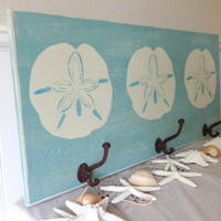 Nautical Wooden Beach House  Sand Dollar Towel Rack