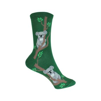 Climbing Koala Crew Socks in Green