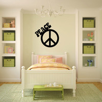 Peace Sign Symbol Vinyl Wall Words Decal Sticker