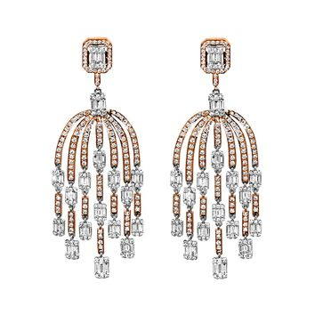 4.79tcw Round & Baguette Diamonds in 18K White Gold Dome Chandelier Dangle Earrings