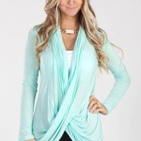 Mint Criss-Cross Wrap Cardigan