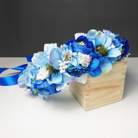 Blue flower CROWN / WREATH artificial flowers wedding royal blue fresh trendy satin ribbon Flower girl Bride delicate romantic boho natural