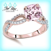 Breast Cancer Ring - Survivor or Memorial  Cushion Pink Sapphire Set in a 14K Rose Gold Ribbon Shank