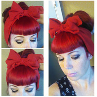 Red Vintage Style Chiffon Hair Scarf Headwrap Hair Bow 1940s 1950s Rockabilly - Pin Up - For Women, Teens Scarves