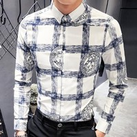 Versace New fashion human head print long sleeve top shirt men White